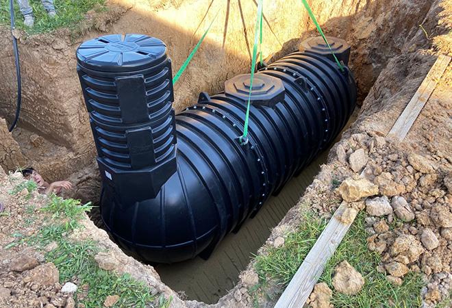 Сборные подземные емкости из пластика для канализации